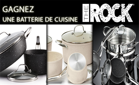 gagnez une batterie de cuisine the rock c ramique gagnez gros. Black Bedroom Furniture Sets. Home Design Ideas